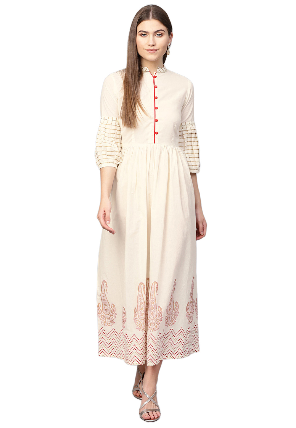 Off White Cambric Cotton Readymade Kurti 200739