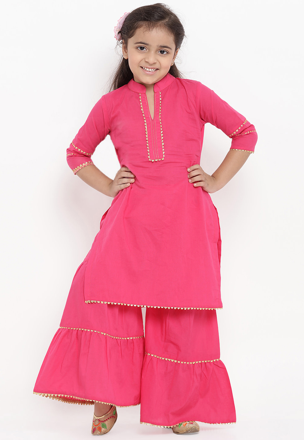 Pink Cotton Readymade Kids Palazzo Suit 202889