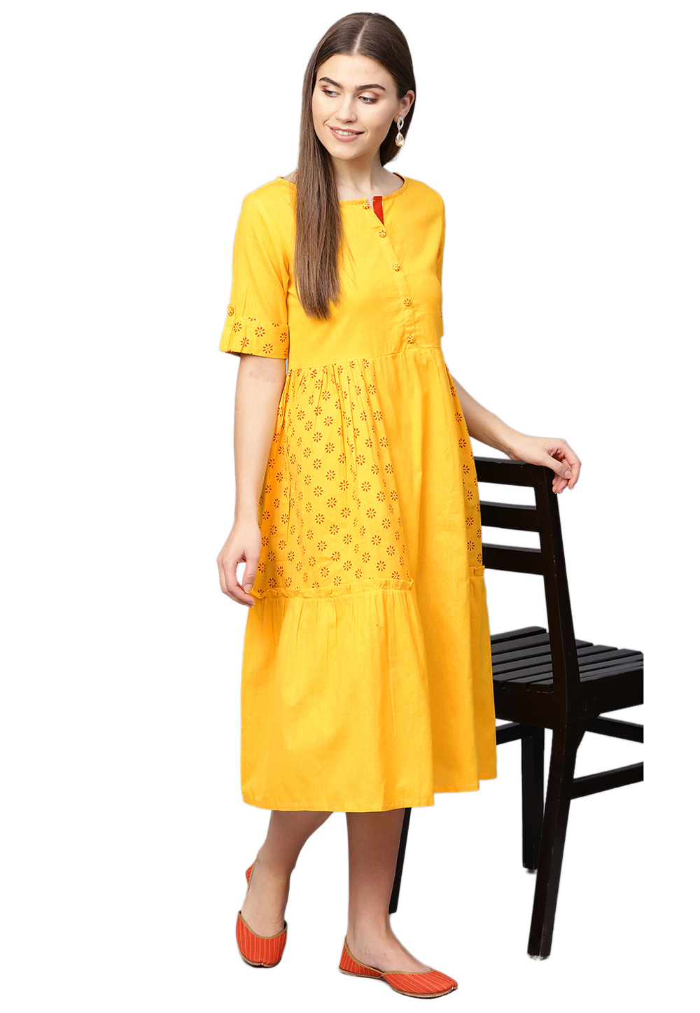 Yellow Cotton Readymade Kurti 200741