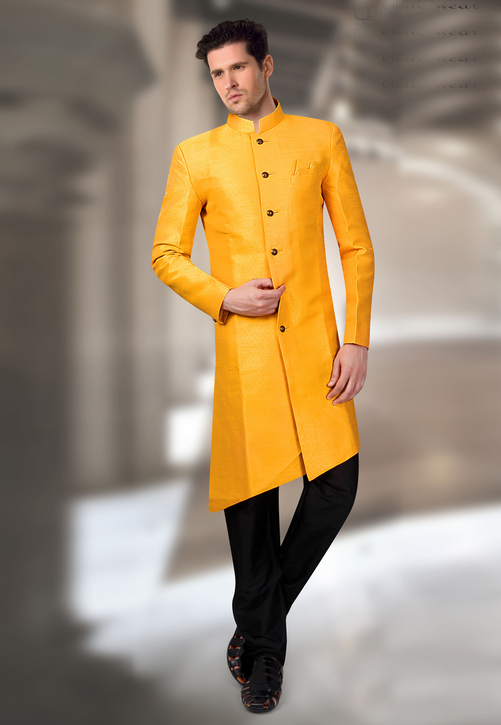 Yellow Silk Readymade Indo Western Suit 196144
