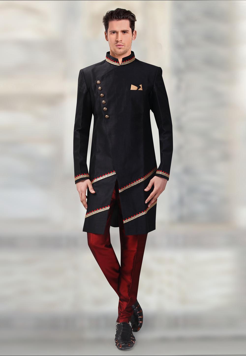Black Silk Readymade Indo Western Suit 196146