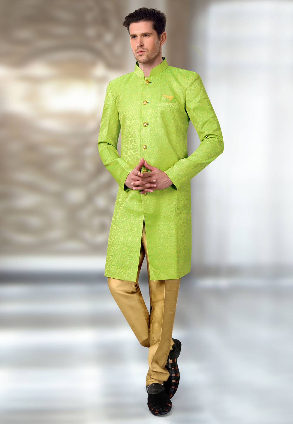 Light Green Brocade Readymade Indo Western Suit 196153