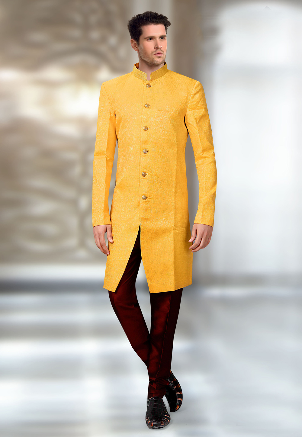 Yellow Jacquard Readymade Indo Western Suit 196155