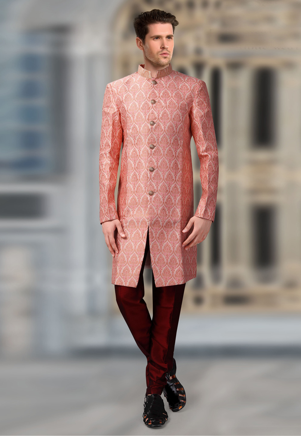 Pink Jacquard Readymade Indo Western Suit 196158