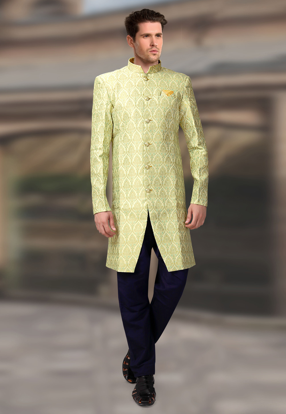 Light Green Jacquard Readymade Indo Western Suit 196159