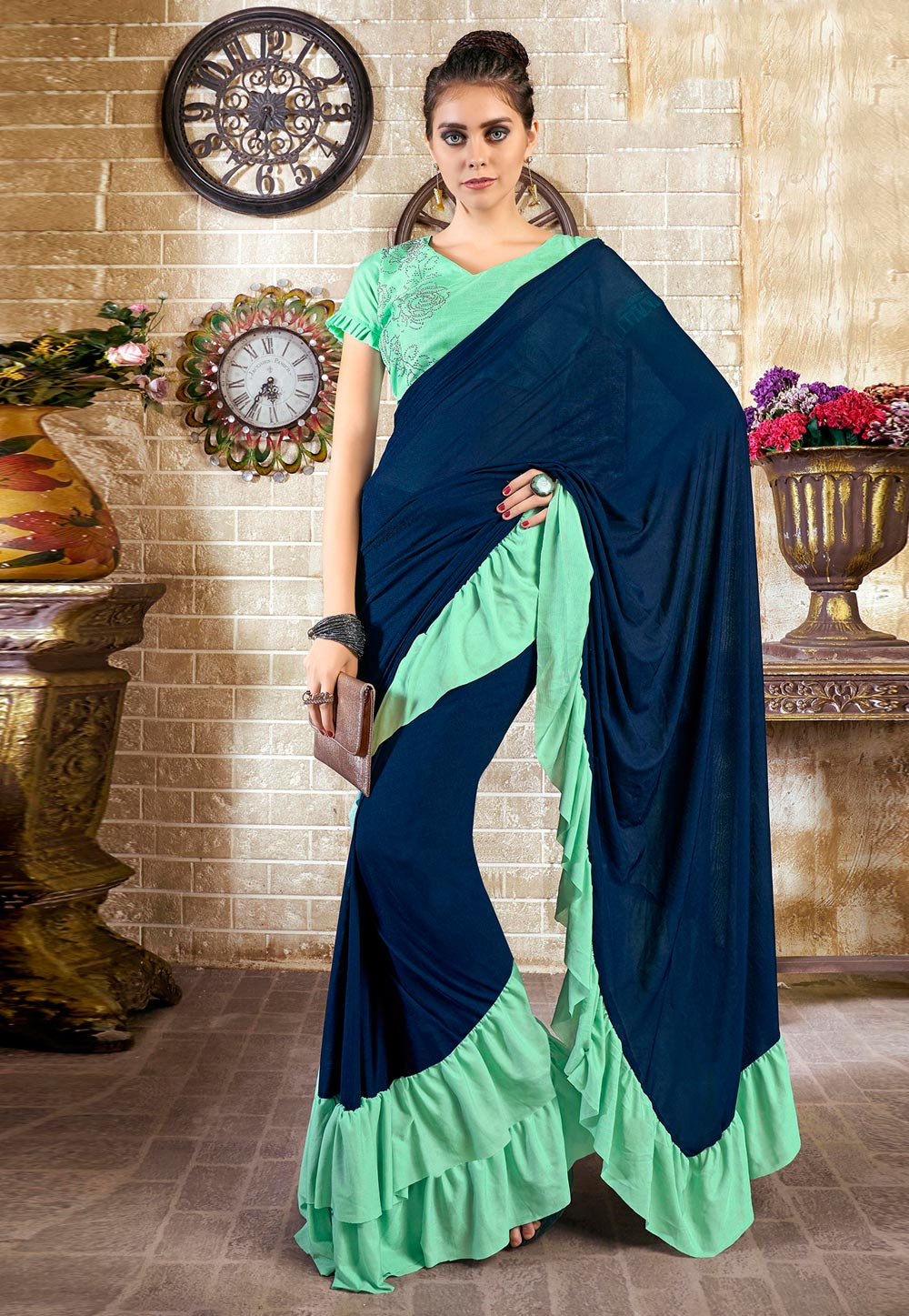 Navy Blue Lycra Ruffle Border Saree With Blouse 196114