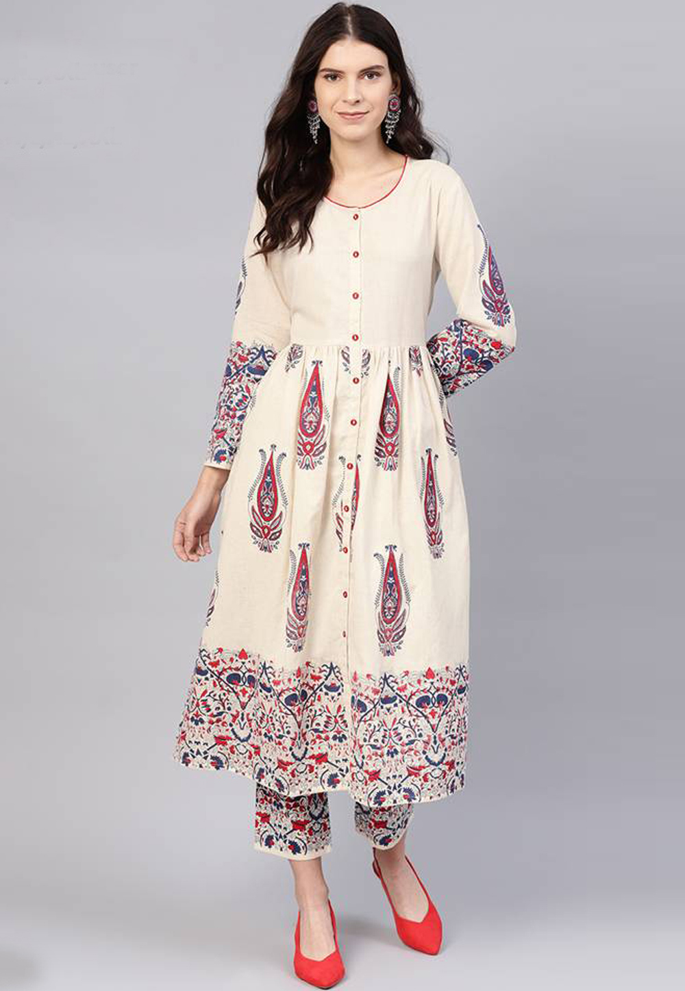Cream Cotton Readymade Kurti 196087