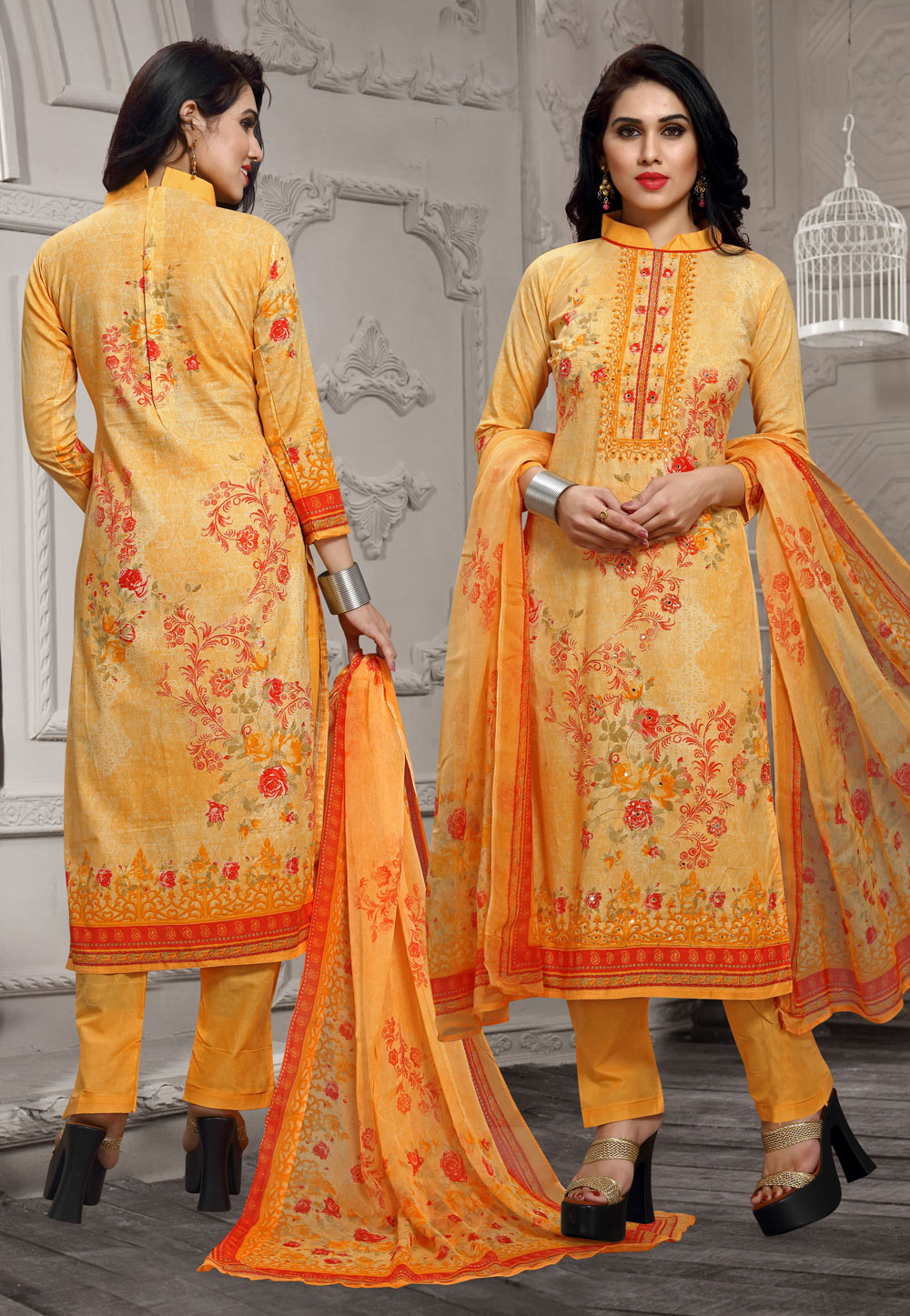 Yellow Cotton Pant Style Suit 196315