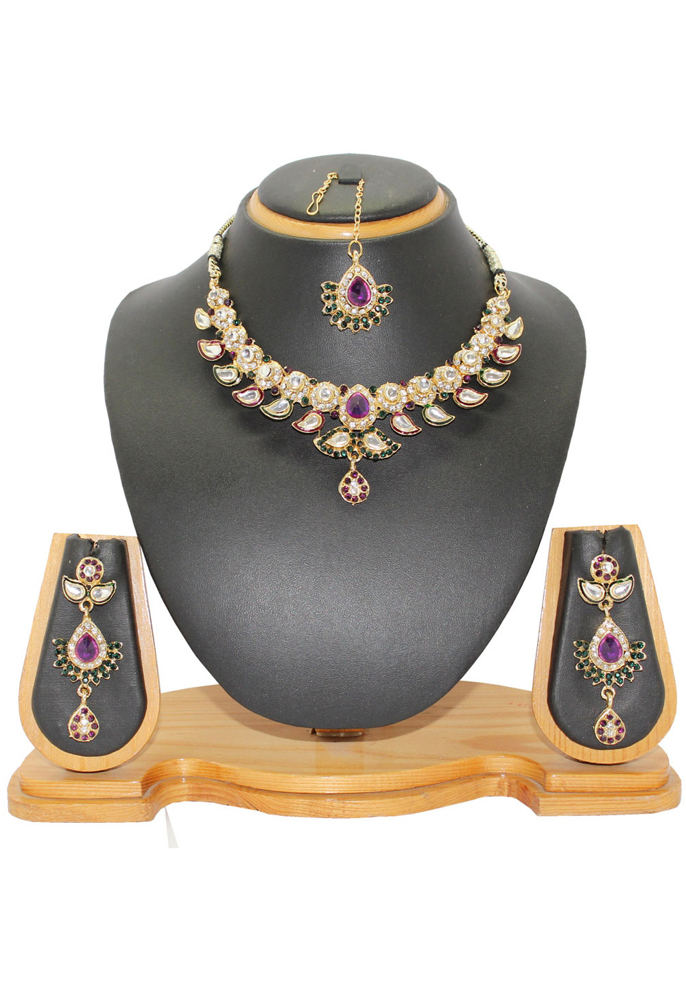 Purple Alloy Austrian Diamonds Necklace With Earrings and Maang Tikka 64335