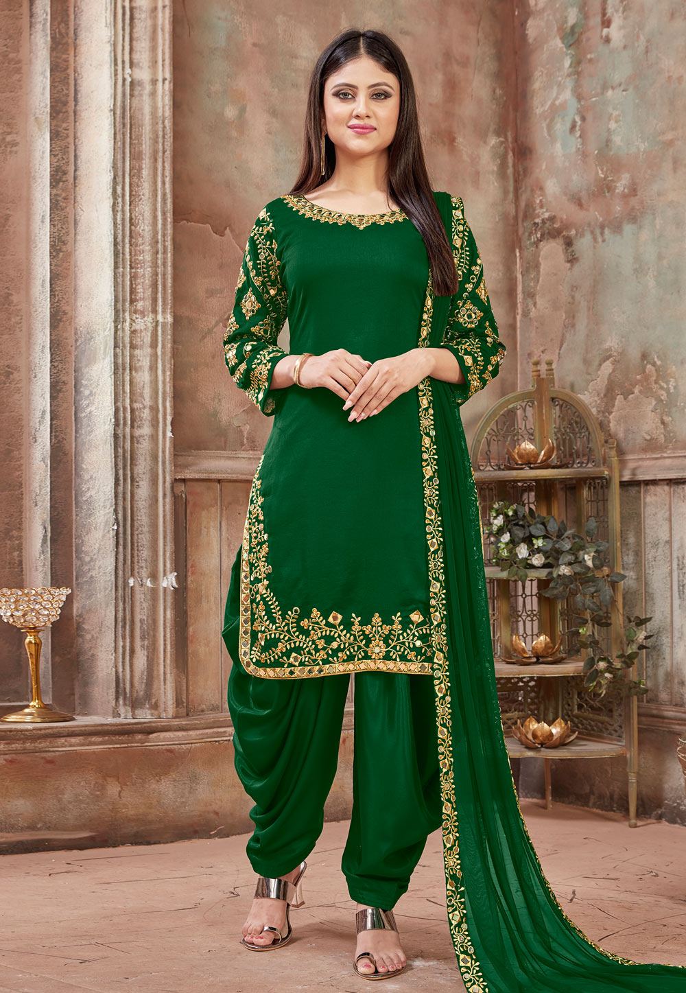 Green Art Silk Embroidered Patiala Suit 181883