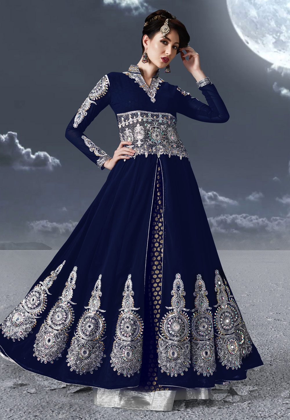 Navy Blue Faux Georgette Embroidered Long Choli Lehenga 170165