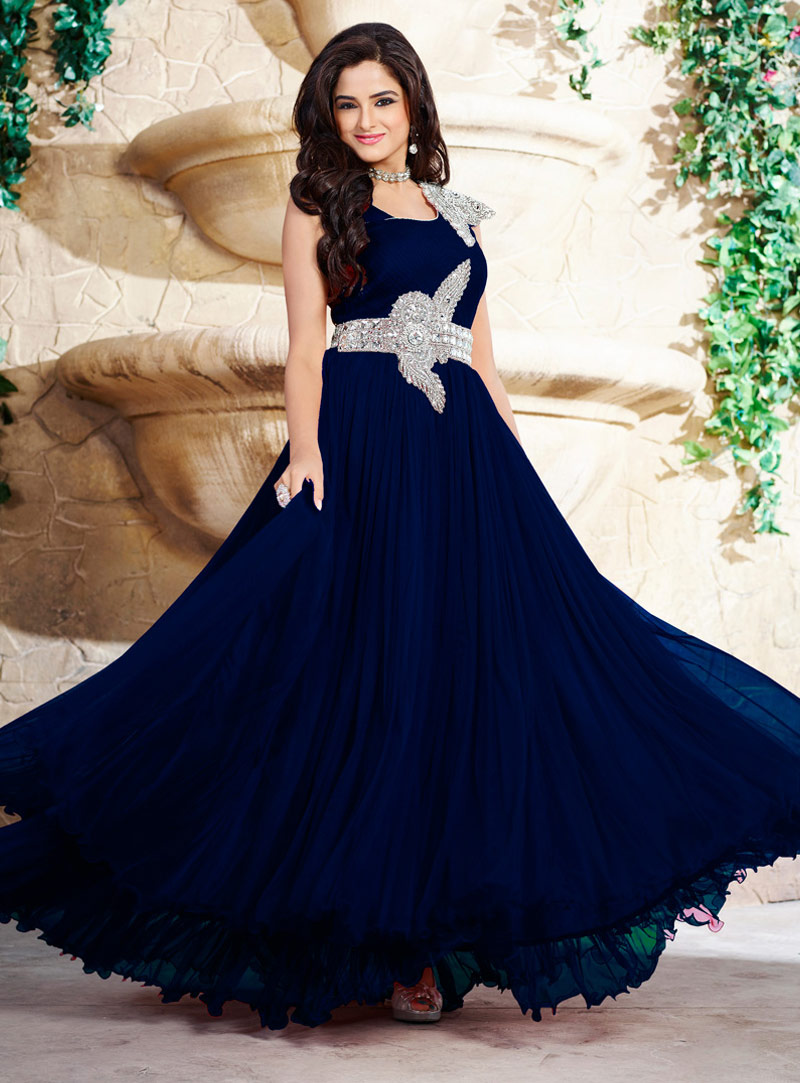 Navy Blue Pure Satin Ankle Length Gown 58102