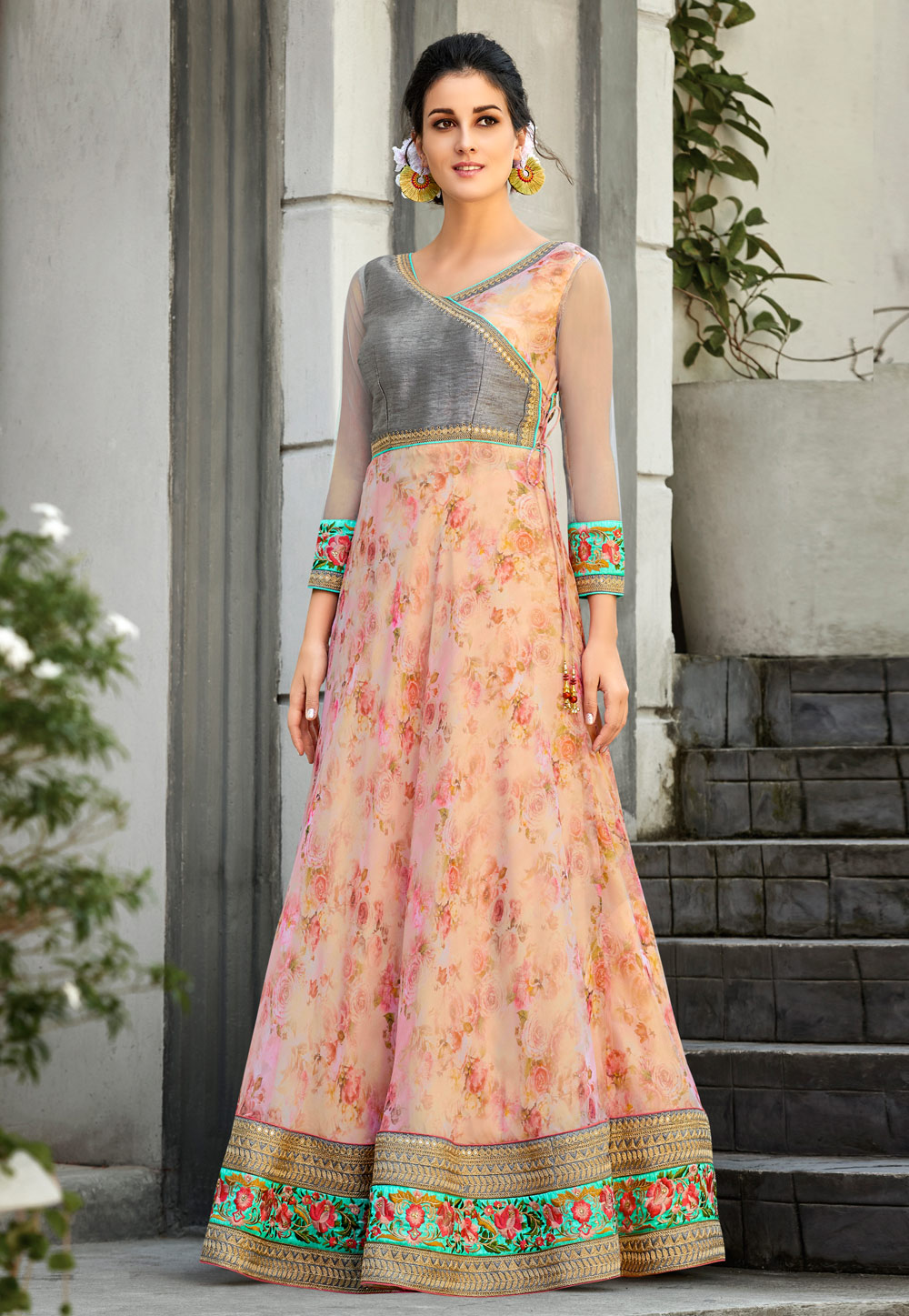 Peach Organza Printed Gown 162727