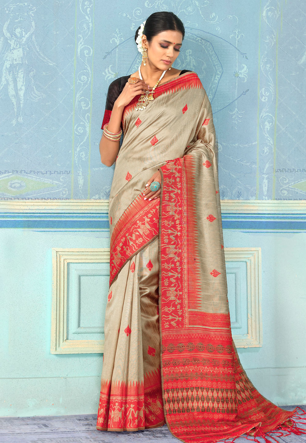 Grey Bhagalpuri Silk Festival Wear Saree 196789