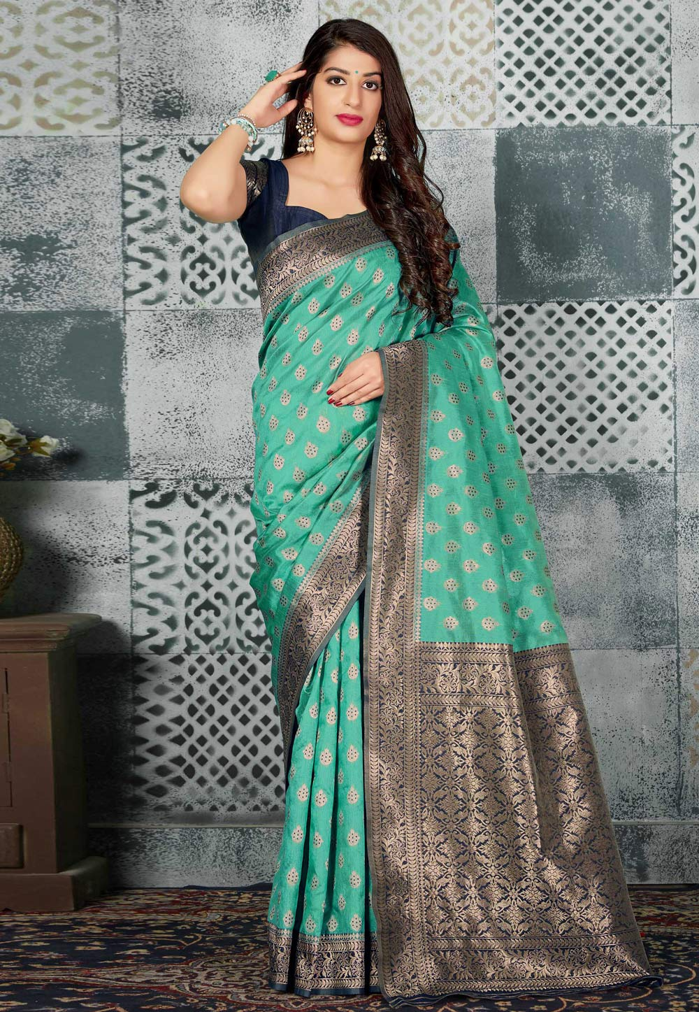 Sea Green Banarasi Silk Festival Wear Saree 196835