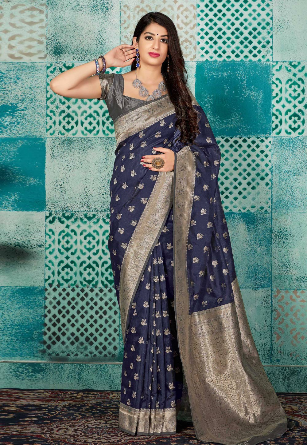 Navy Blue Banarasi Silk Party Wear Saree 196836