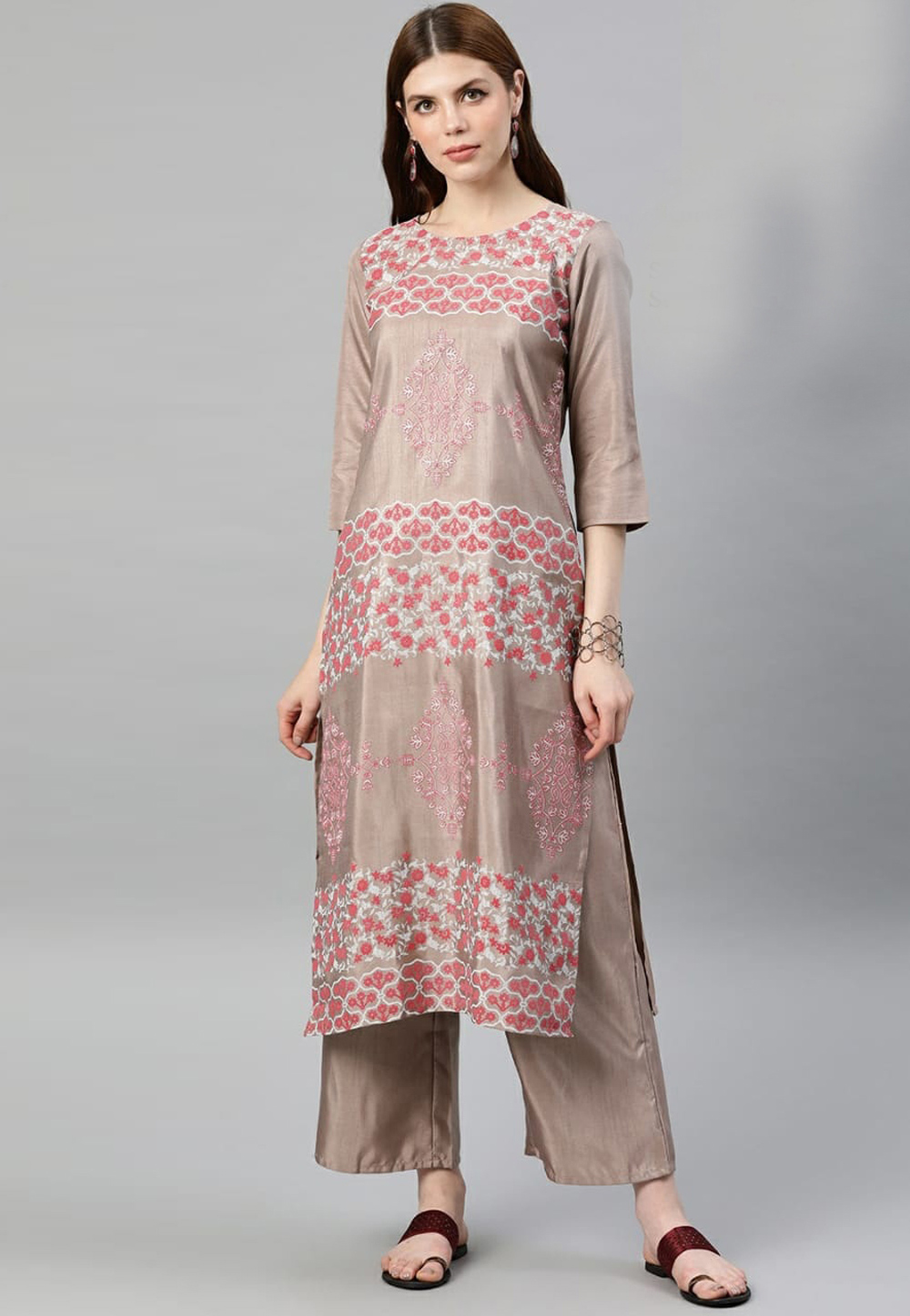 Light Brown Silk Readymade Printed Kurti 196870