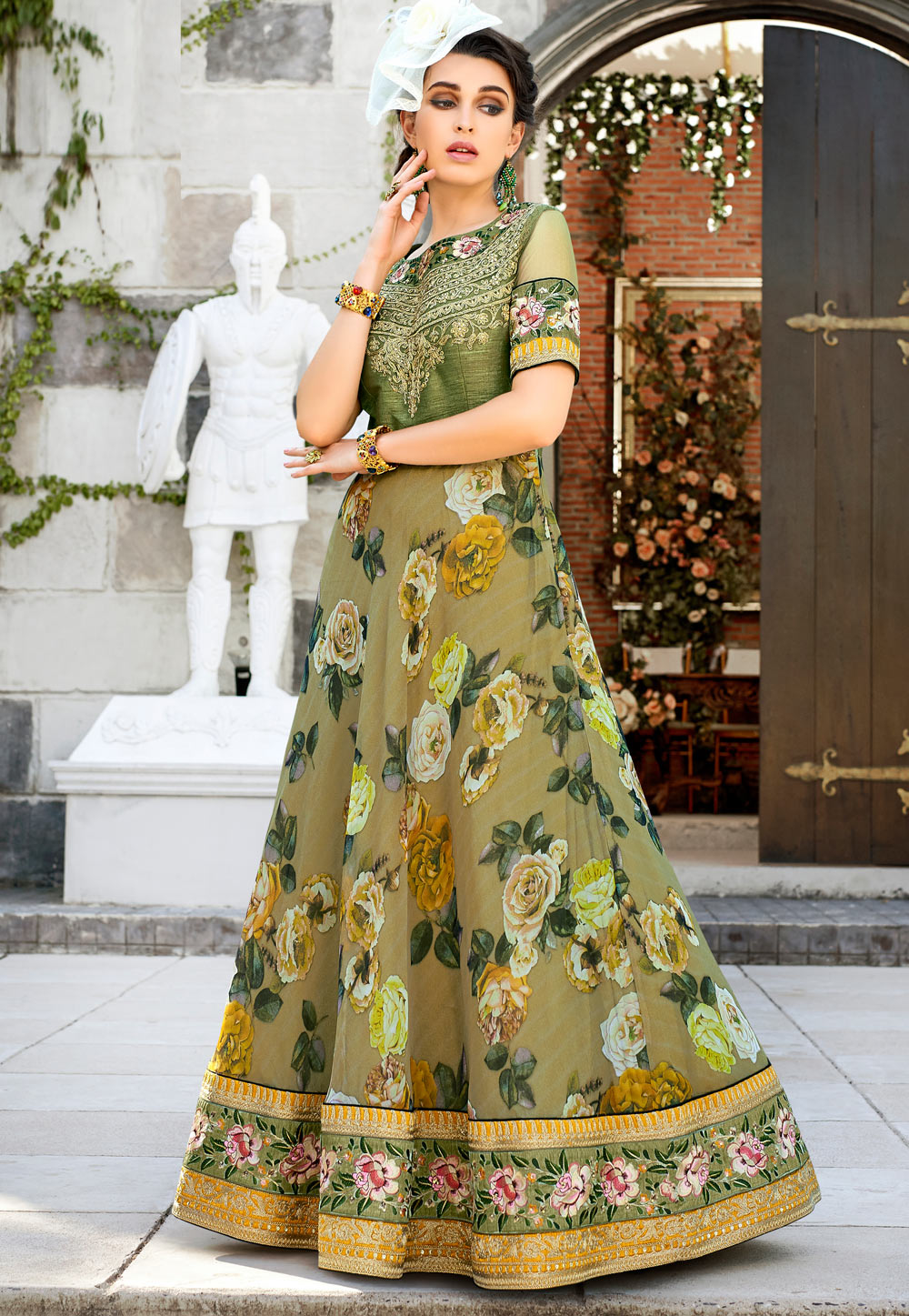 Olive Green Organza Embroidered Gown 162729