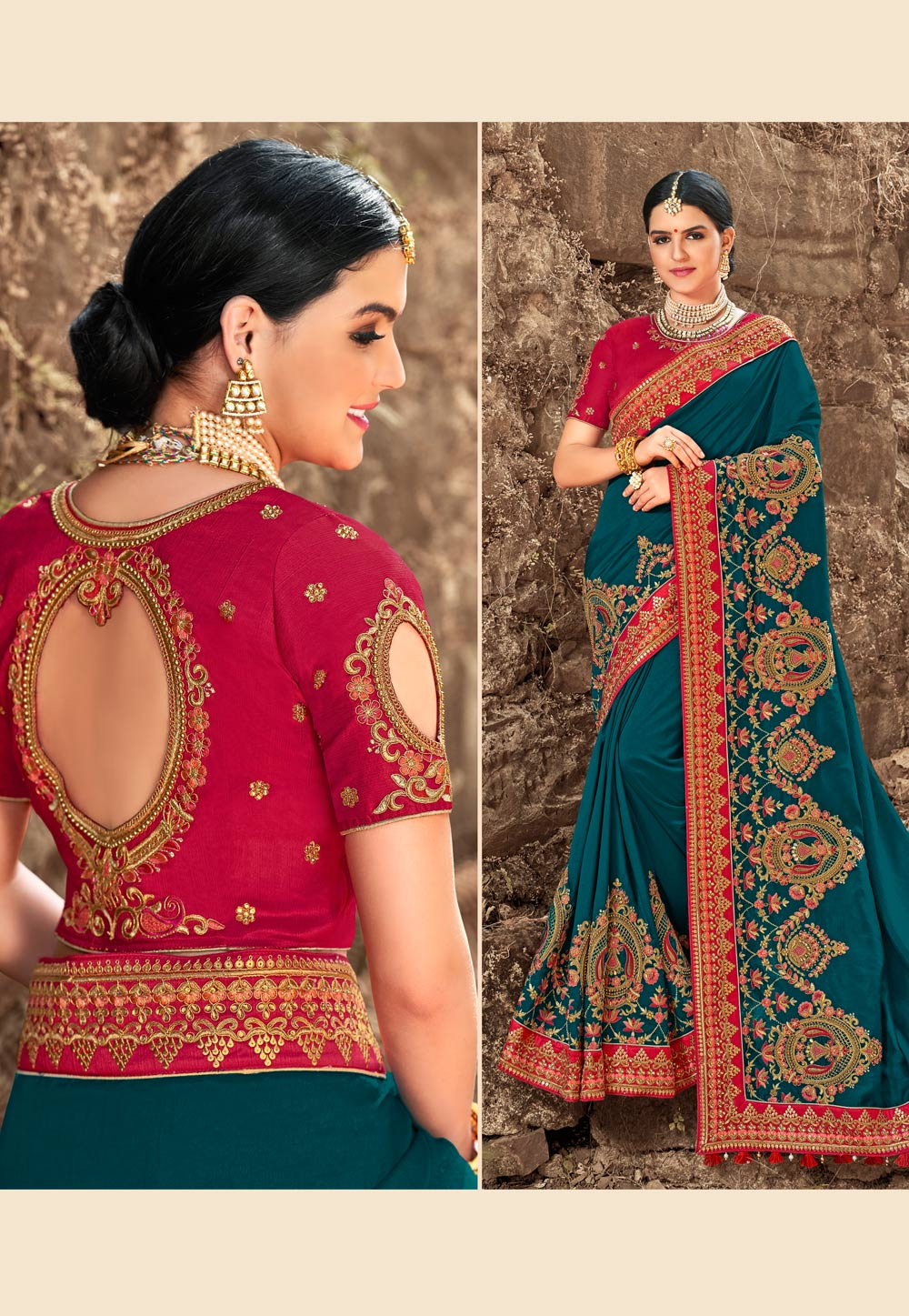 Blue Silk Embroidered Saree With Blouse 155930
