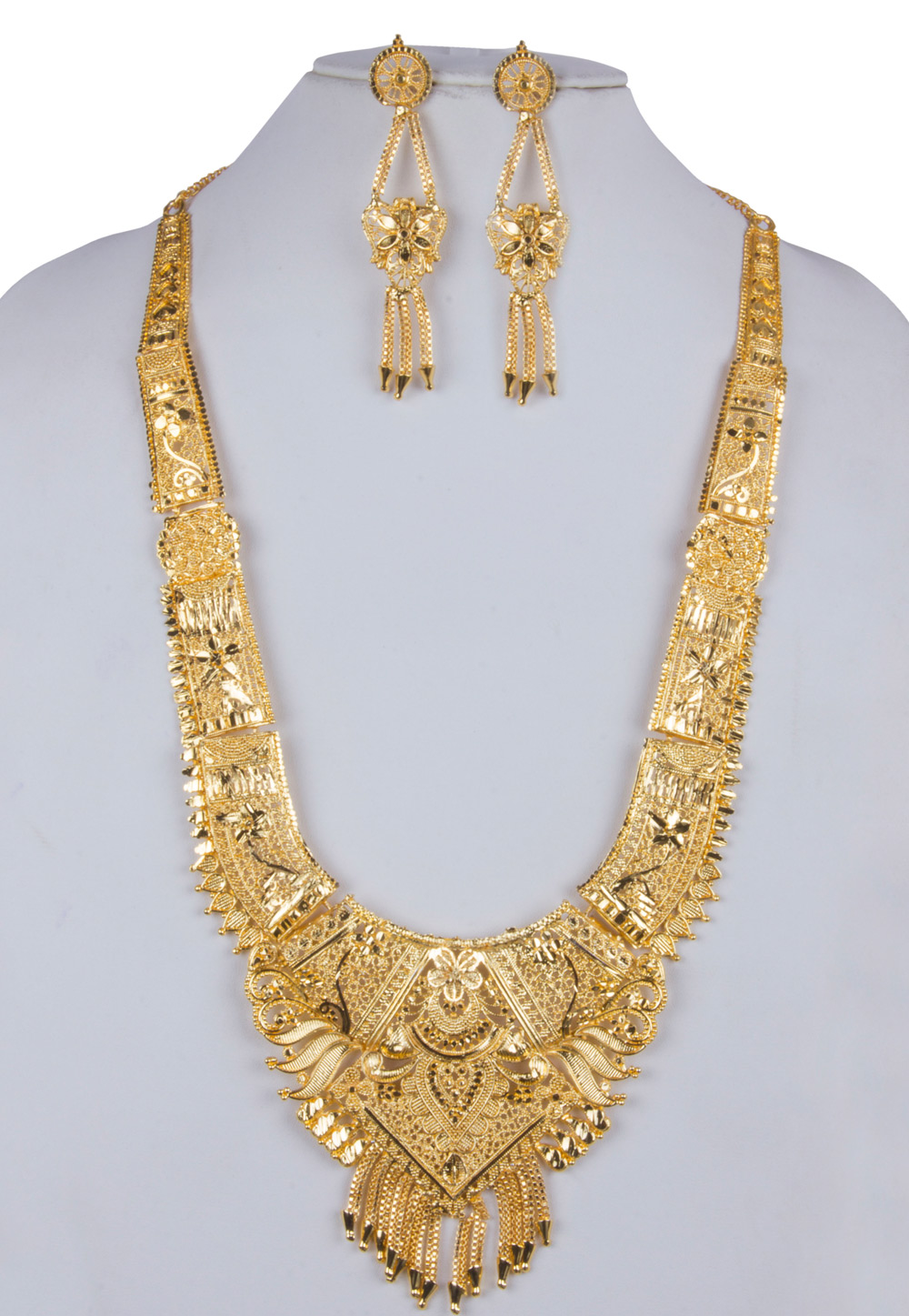 Golden Alloy Long Necklace With Earrings 157105
