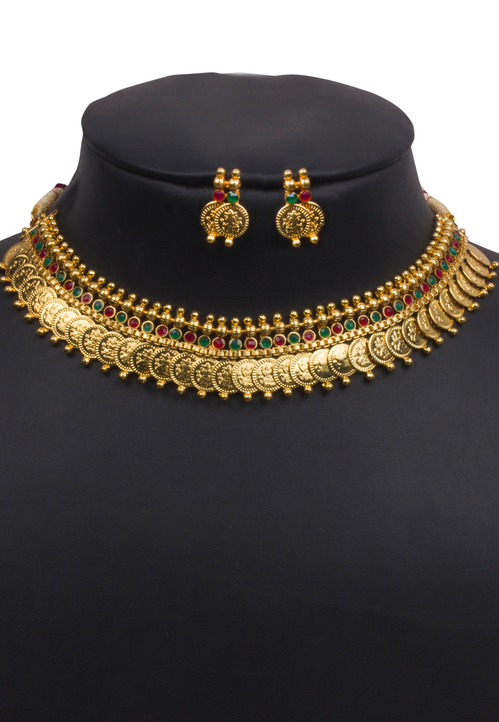 Golden Alloy Necklace With Earrings 157106