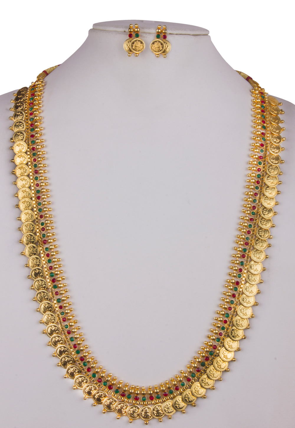 Golden Alloy Long Necklace With Earrings 157107