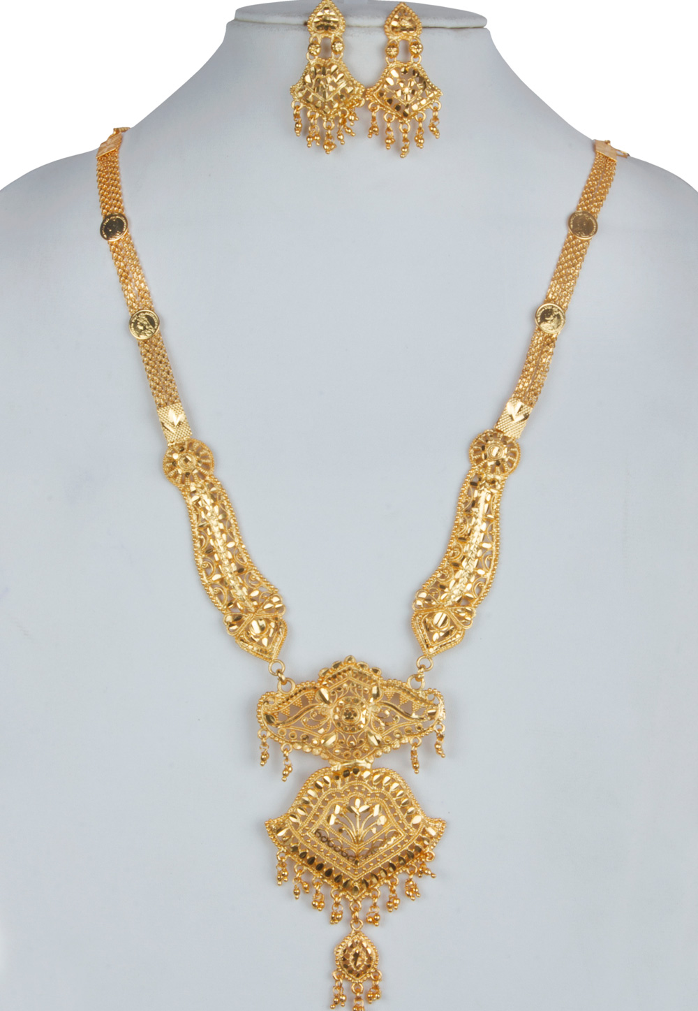 Golden Alloy Long Necklace With Earrings 157108