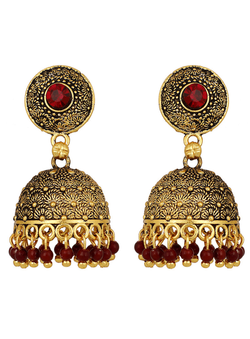 Maroon Brass Earrings 150690