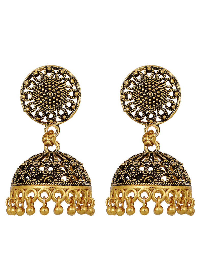 Golden Brass Earrings 150694