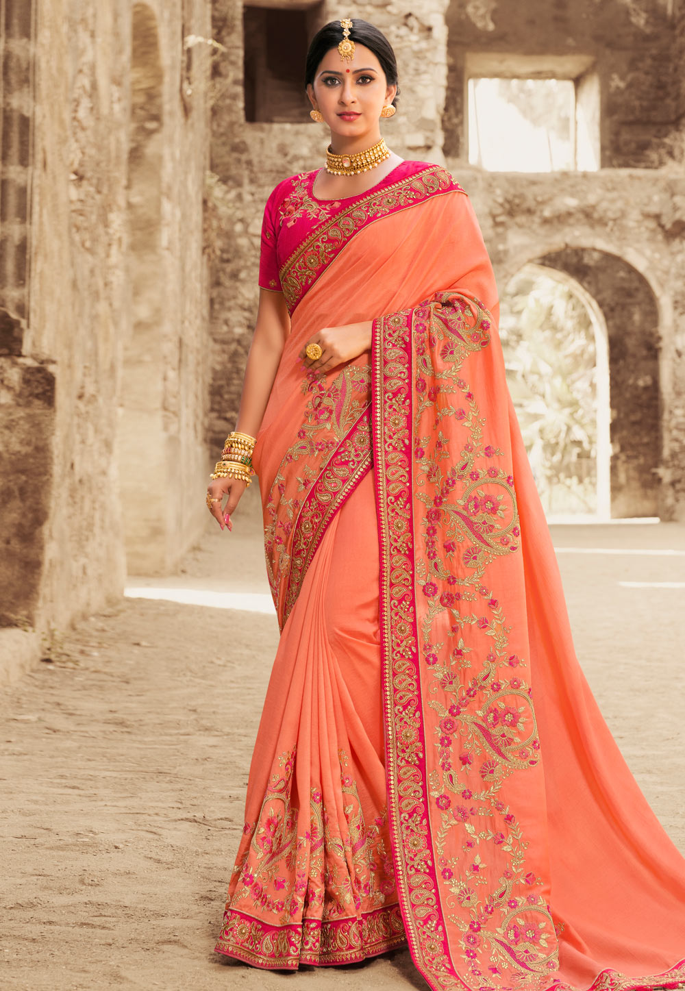 Orange Silk Embroidered Saree With Blouse 155932