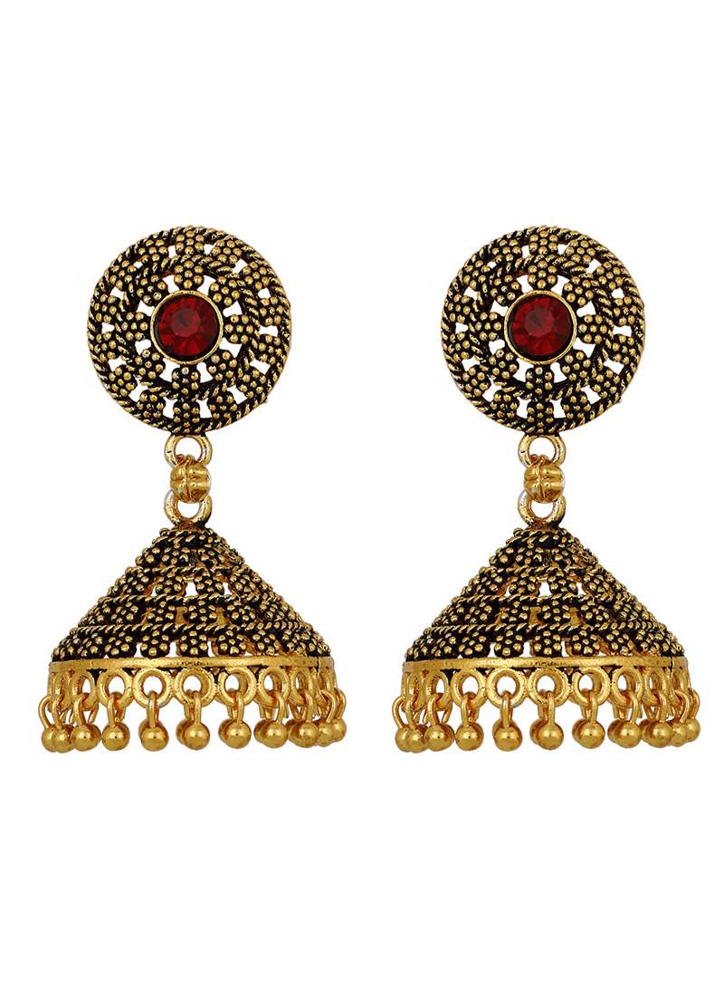Golden Brass Earrings 150695