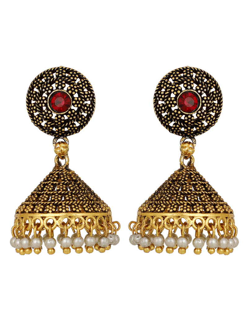Golden Brass Earrings 150697