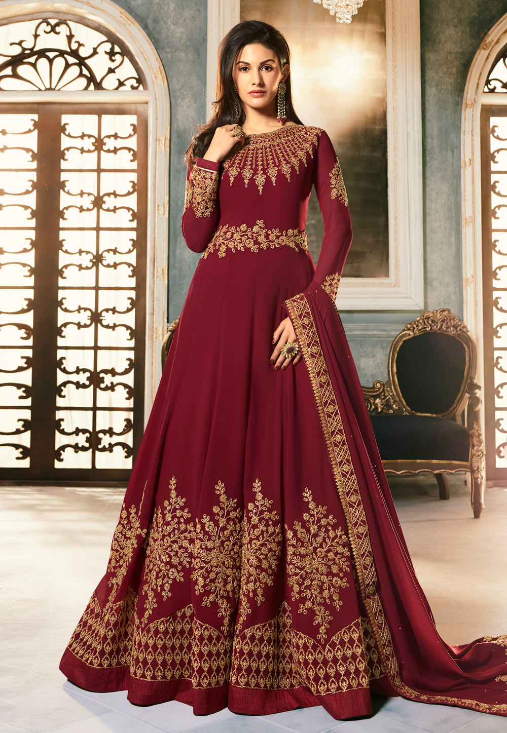 Maroon Georgette Floor Length Anarkali Suit 185935