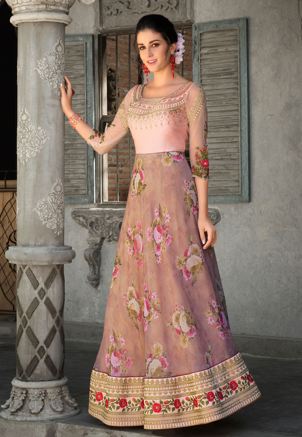 Light Pink Organza Printed Gown 162734