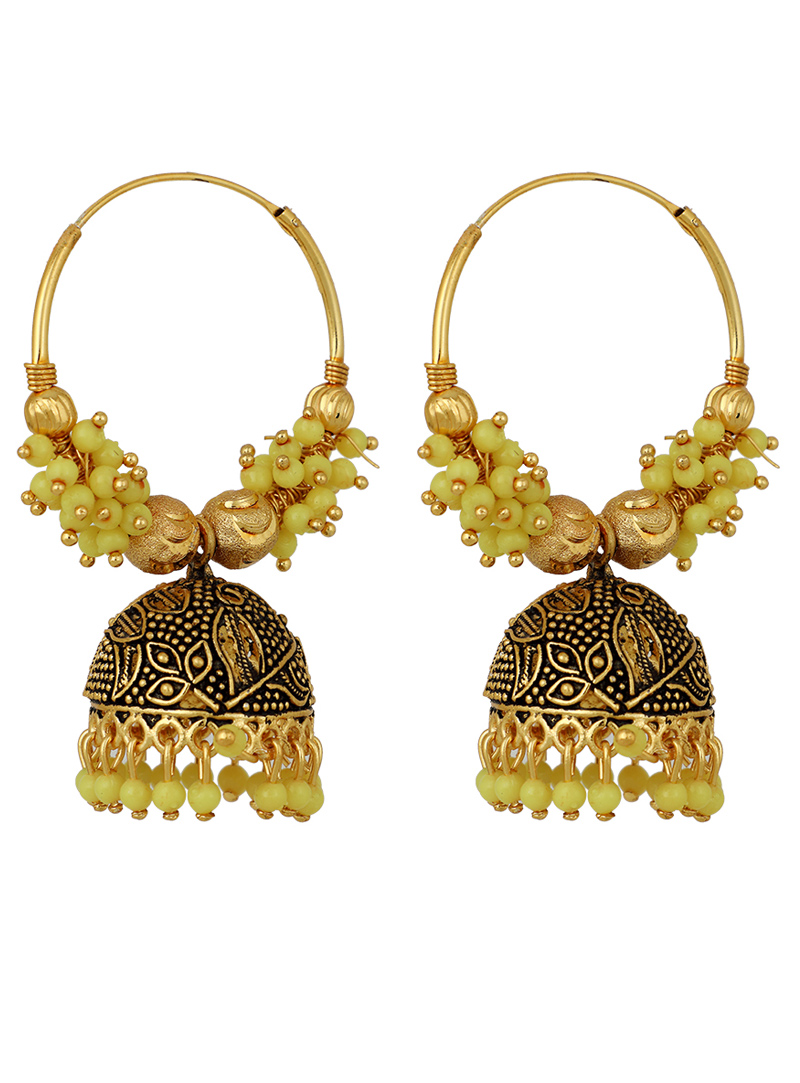 Light Green Brass Earrings 150704