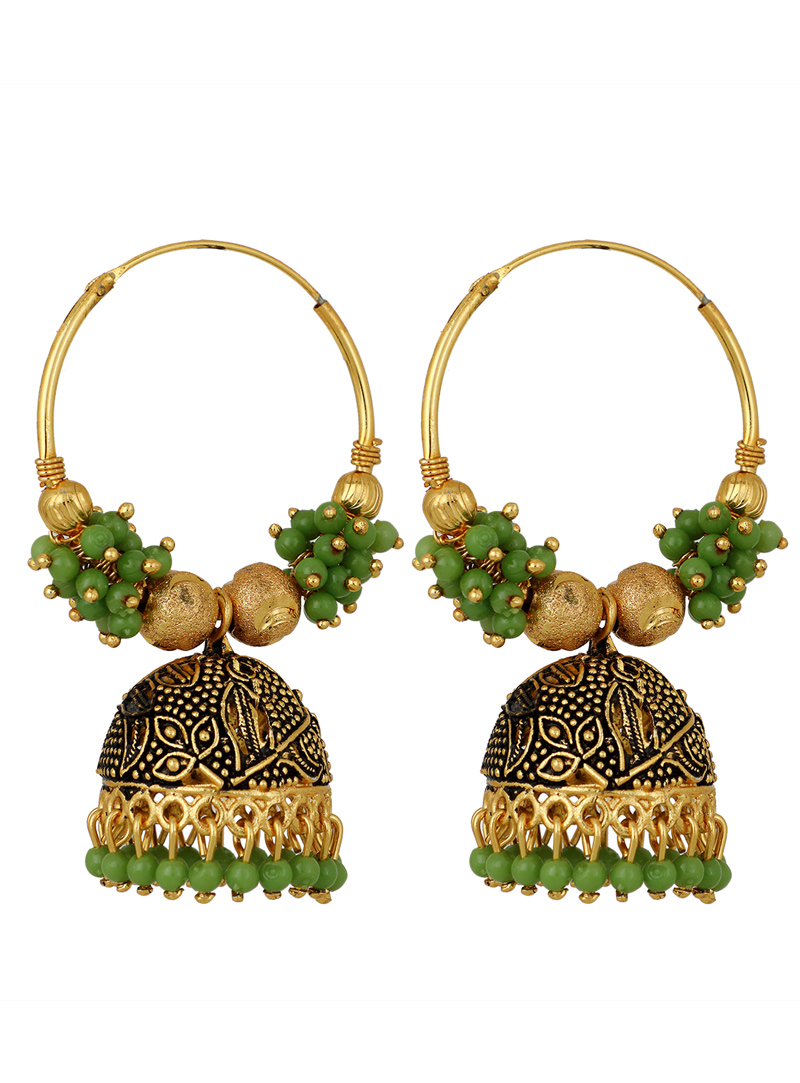 Green Brass Earrings 150705