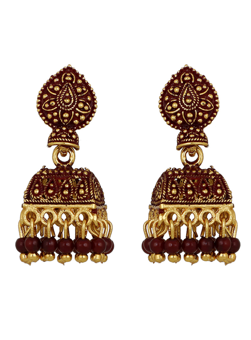 Maroon Brass Earrings 150709