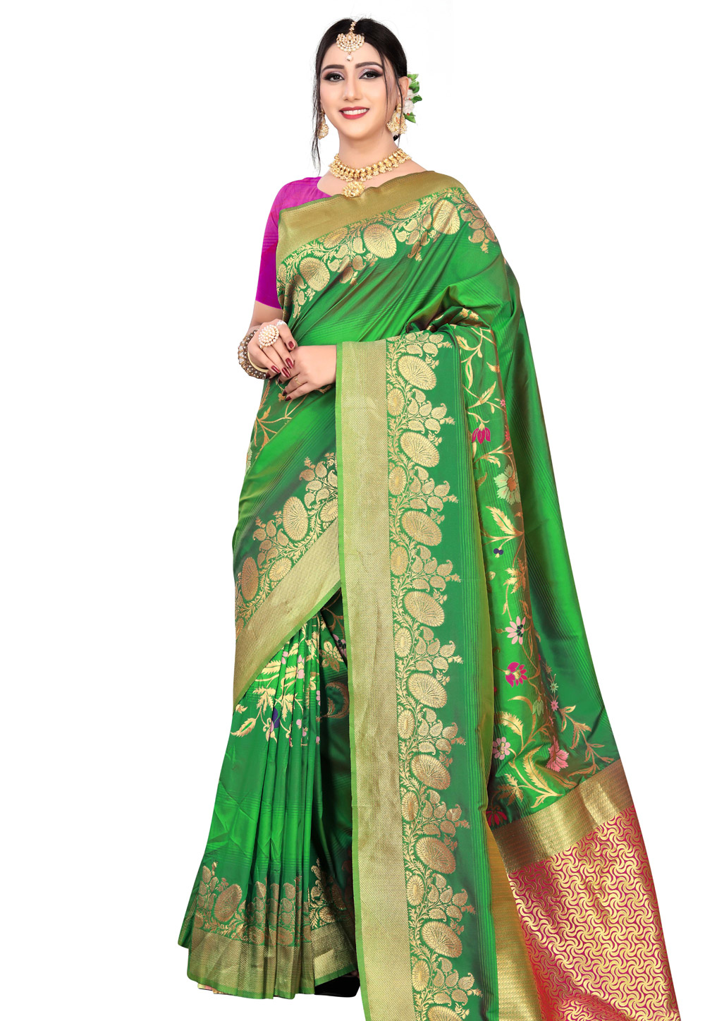 Green Silk Saree With Blouse 199401
