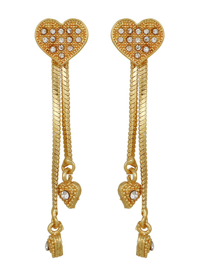 Golden Brass Heart Shape Earrings 150720