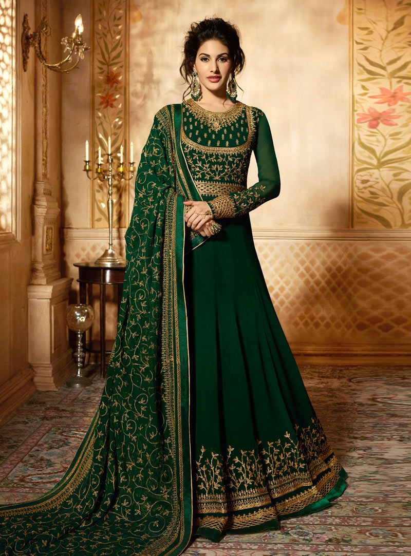Green Faux Georgette Anarkali Suit 142093