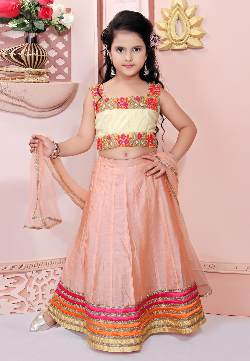 Peach Chanderi Silk Readymade Kids Lehenga Choli 198371