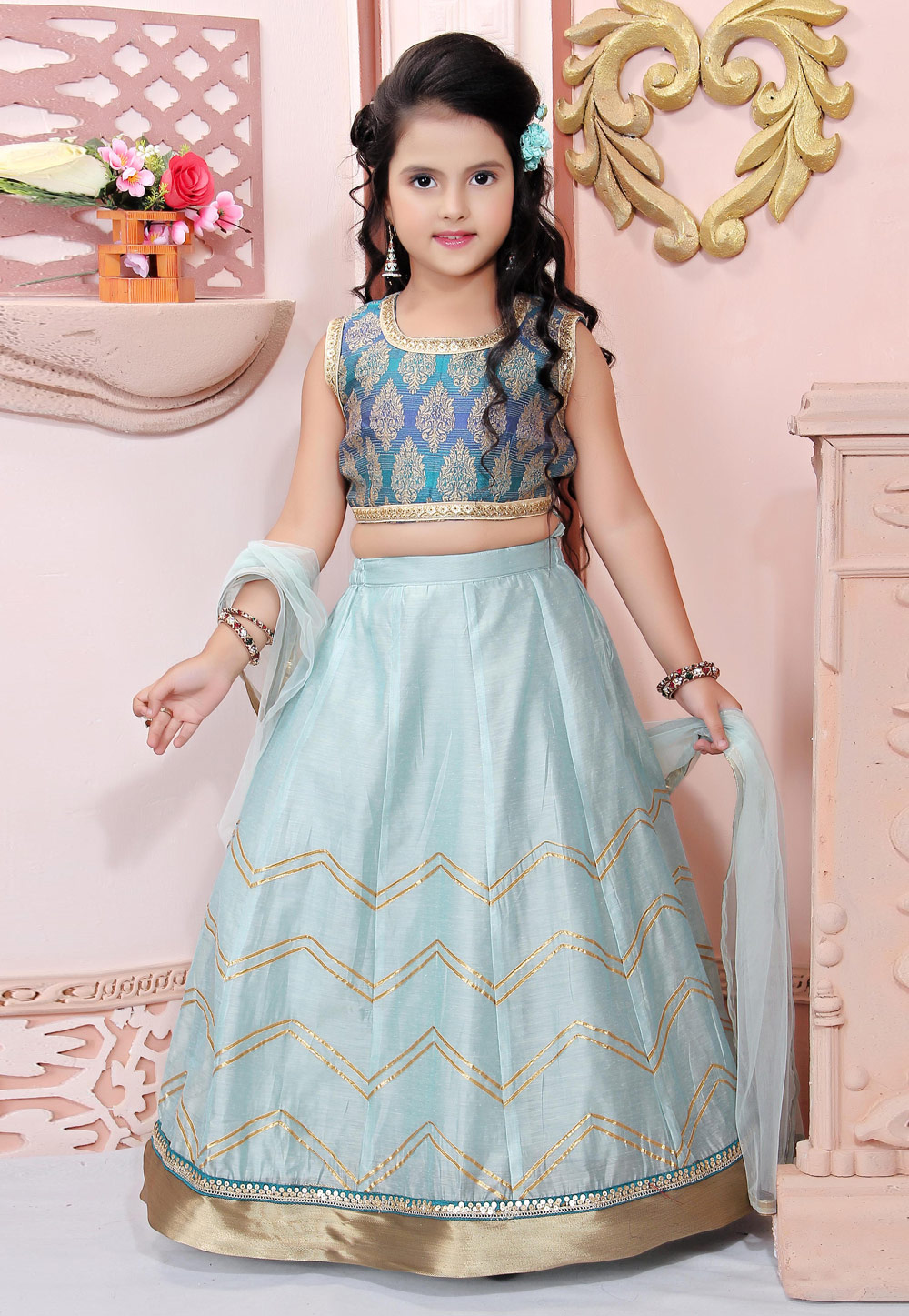 Sky Blue Chanderi Silk Readymade Kids Lehenga Choli 198374