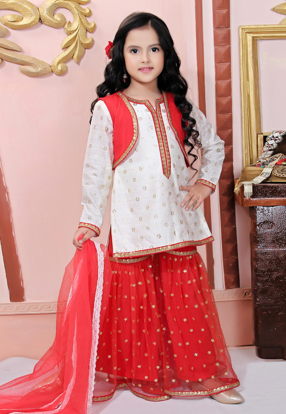 Off White Net Readymade Kids Sharara Suit 198376