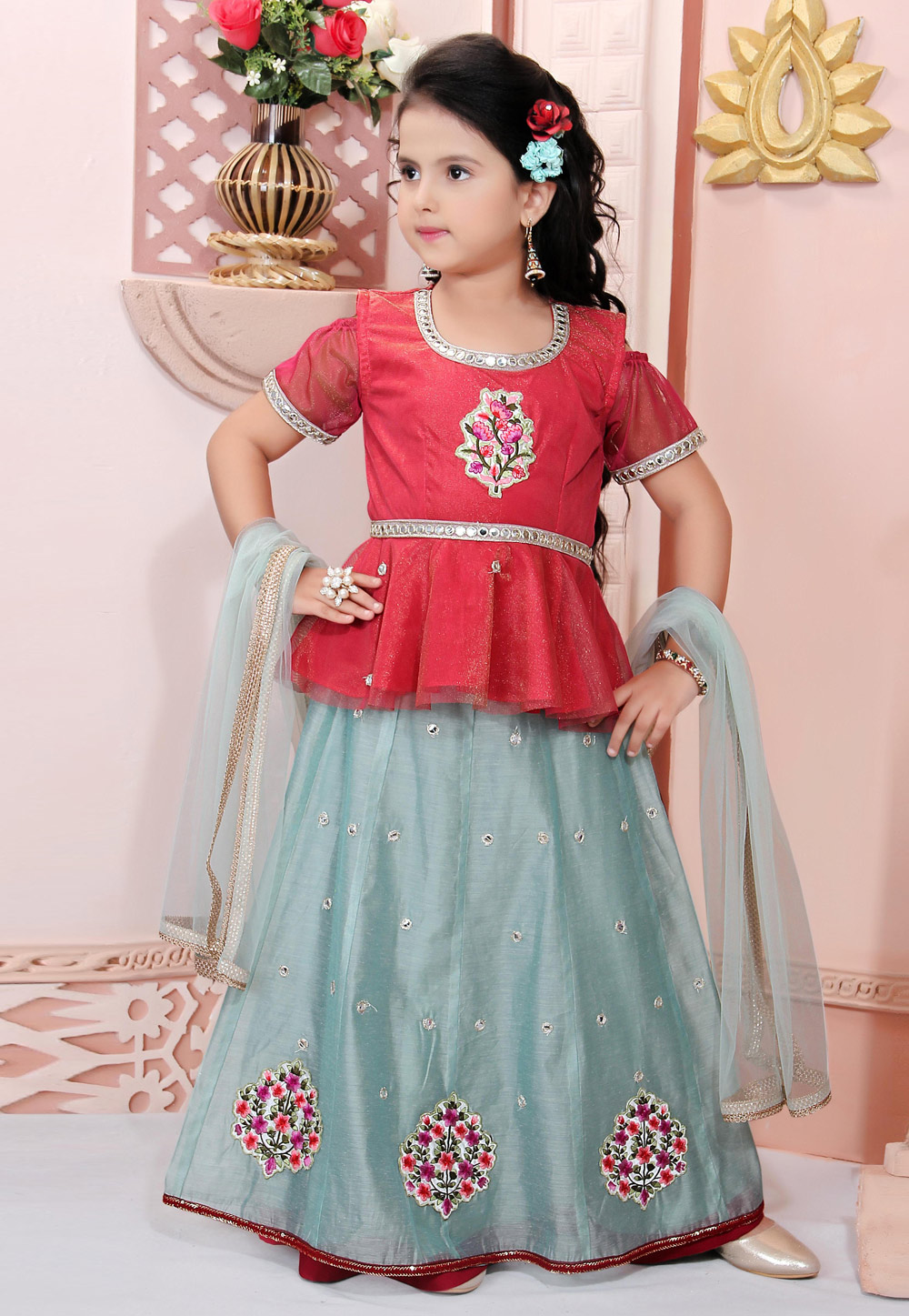 Sea Green Chanderi Silk Readymade Kids Skirt and Peplum 198379