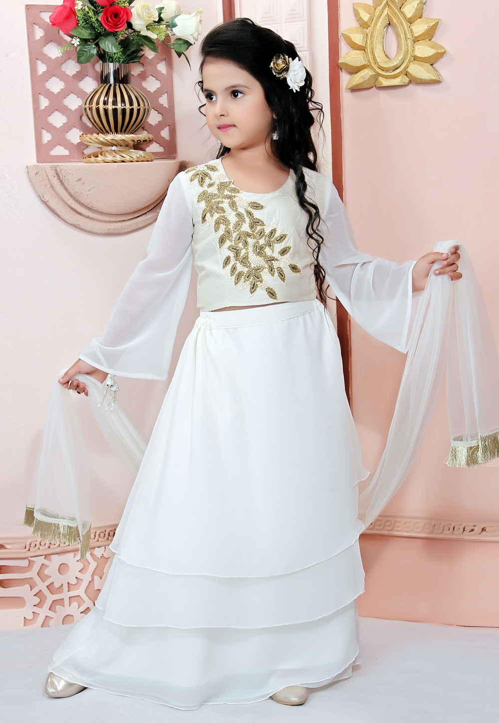 White Faux Georgette Readymade Kids Layered Lehenga Choli 198380
