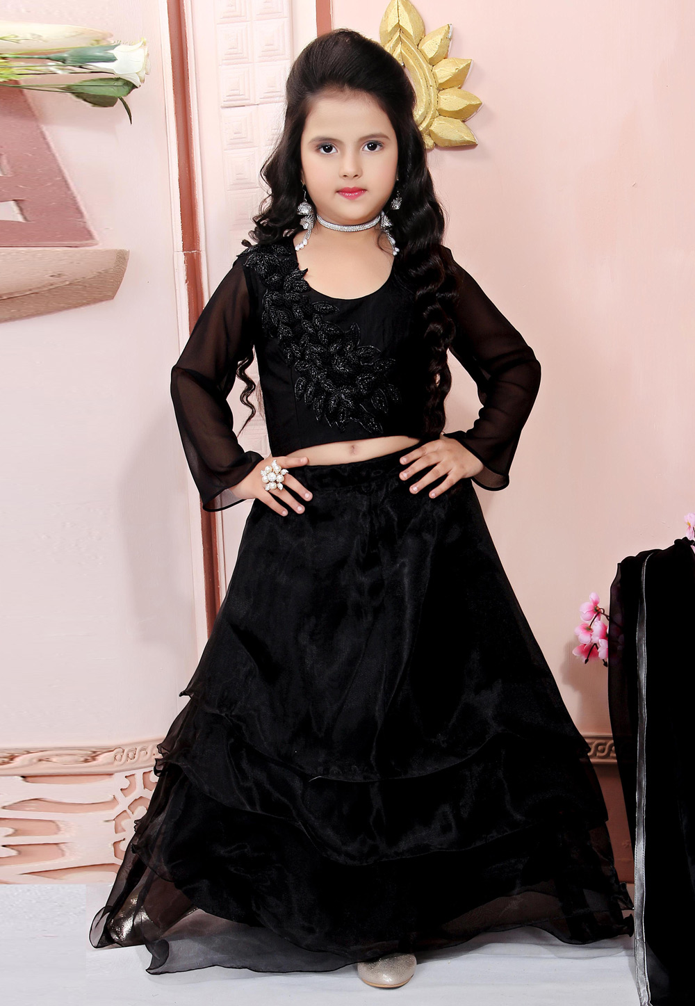 Black Organza Readymade Kids Lehenga Choli 198384