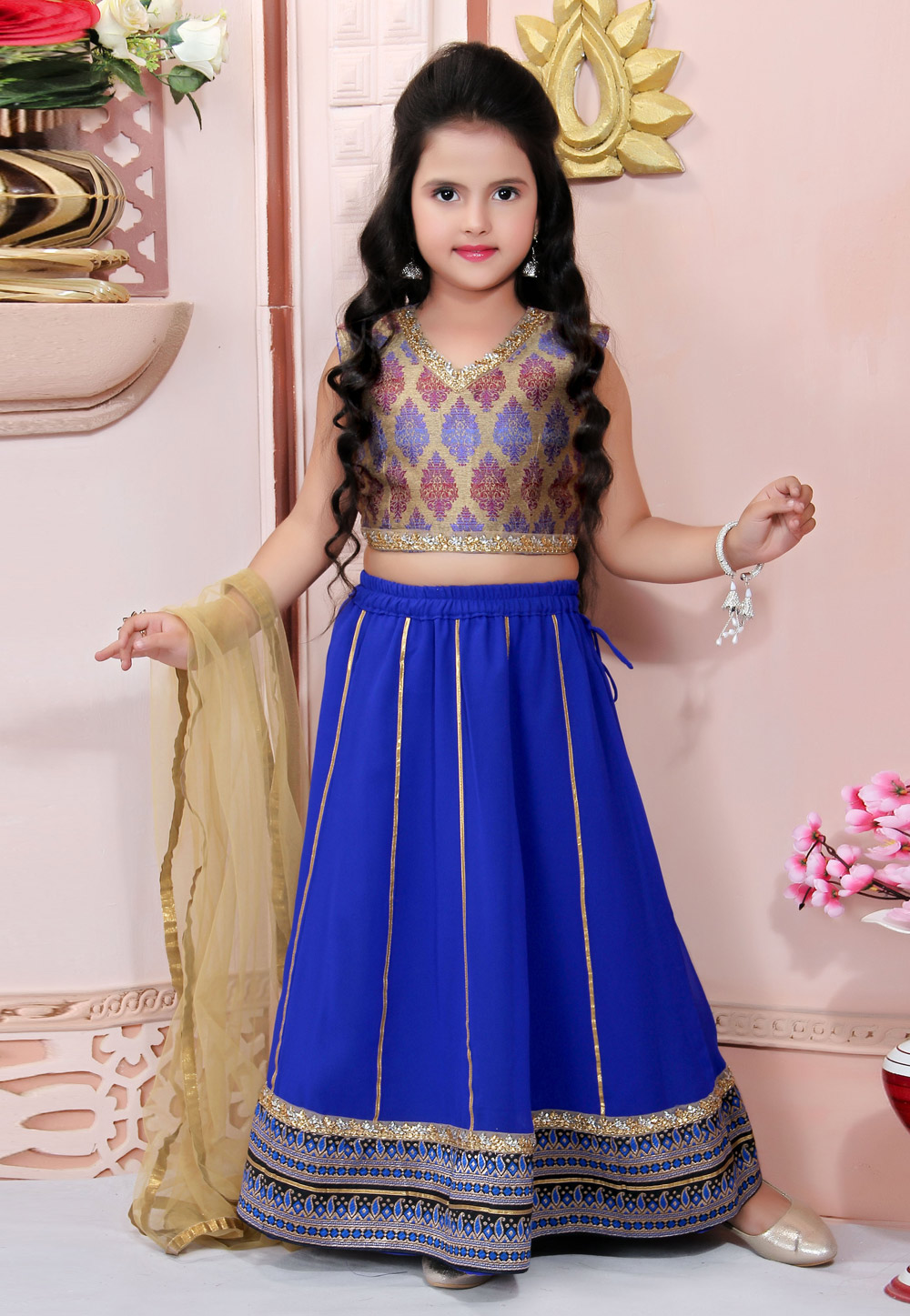 Blue Faux Georgette Readymade Kids Lehenga Choli 198385