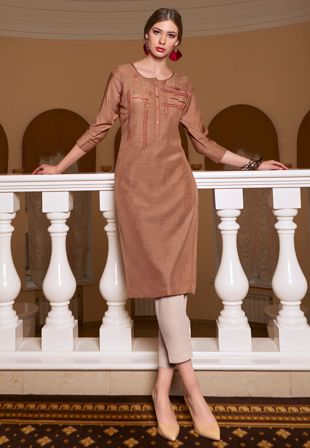 Brown Silk Readymade Tunic 197436