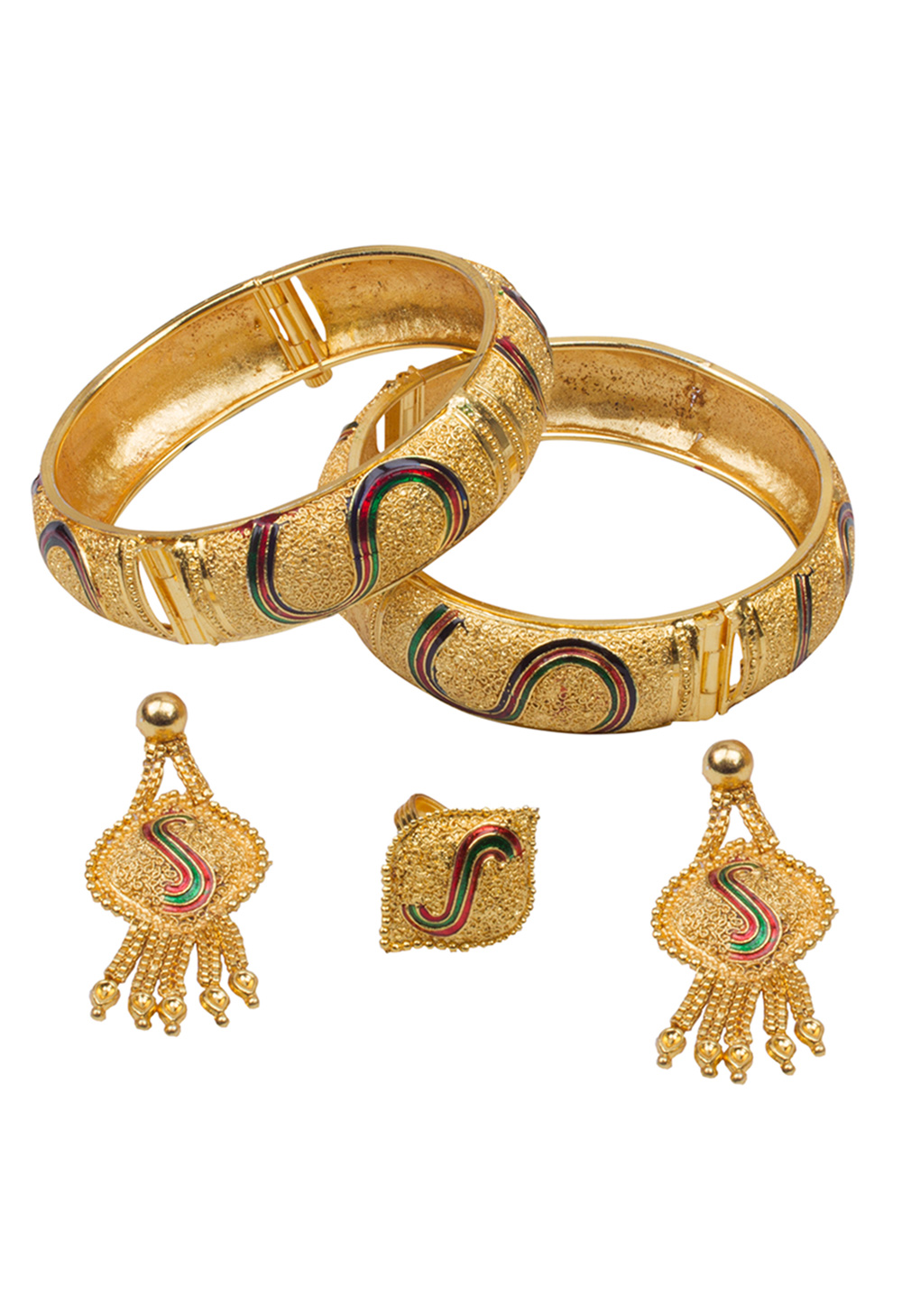 Golden Brass Bangle With Earring and Ring 157694