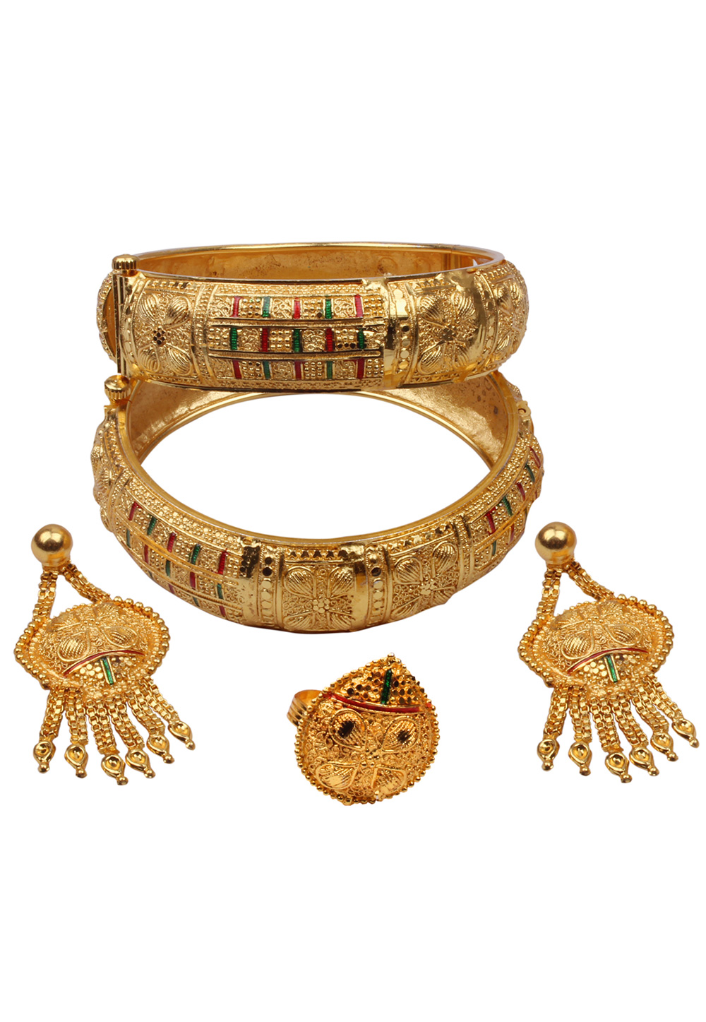 Golden Brass Bangle With Earring and Ring 157695